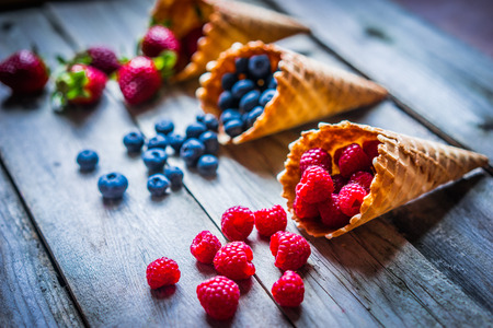 summer diet: Berries in waffle cones Stock Photo