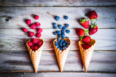 waffles: Berries in waffle cones Stock Photo