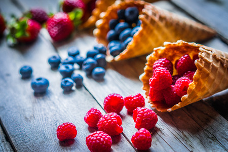 Berries in waffle cones 스톡 콘텐츠