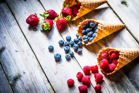 Berries in waffle cones Stockfoto
