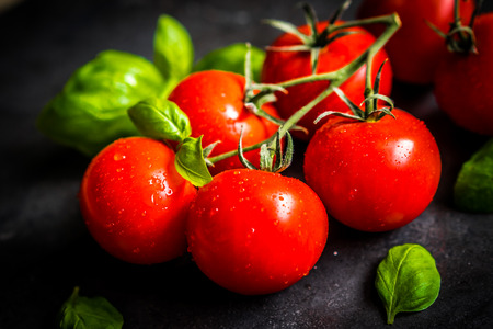 wood cut: Cherry tomatoes on the vine Stock Photo