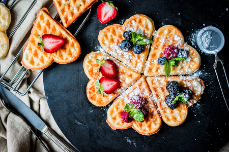 Heart waffles with berries 写真素材