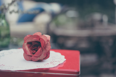 Romantic table decoration with a rose photo