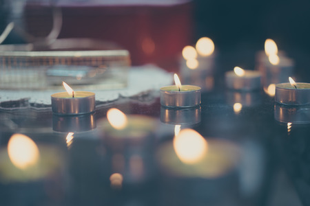 Romantic table with candles decorations Archivio Fotografico