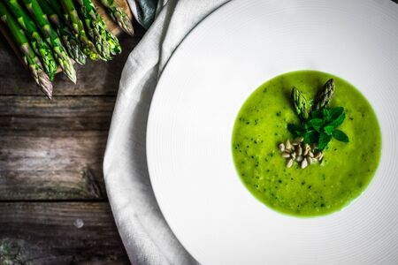 green vegetable: Green vegetable cream soup Stock Photo