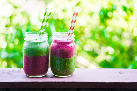 Two layer colorful smoothies 写真素材