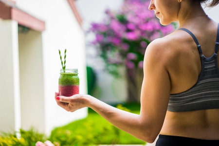 workout: Two layer colorful smoothies Stock Photo