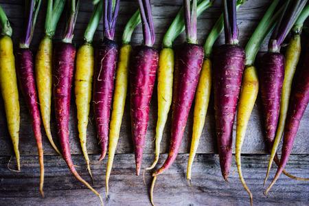 arc en ciel: Carottes colorées Banque d'images