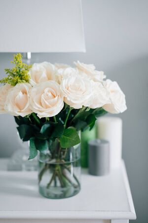 Bouquet of white pastel roses