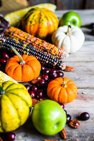 background food: Pumpkins,corn,apples,nuts and cranberries on wooden background