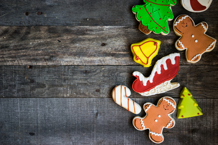 gingerbread: Christmas cookies on rustic wooden background Stock Photo