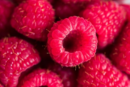 Closeup of raspberries in macro