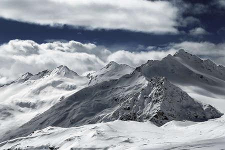 Landscape Snow caucasus capped peaks in Elbrus
