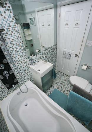 Small, modern bathroom interior  Mosaic tiles   photo