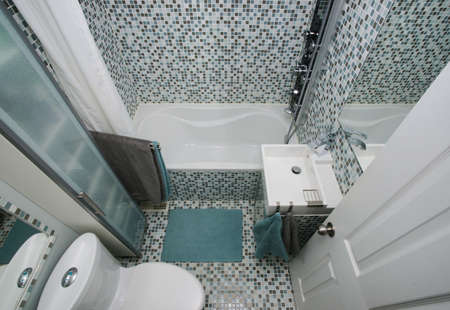 bathroom interior: Small, modern bathroom interior  Mosaic tiles