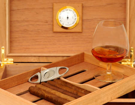 glass cutter: Cigars in open humidor  Cigar cutter  Glass of cognac Stock Photo
