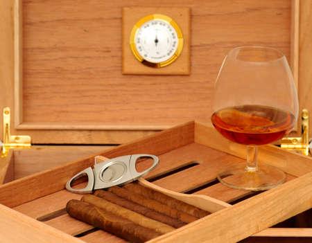 Cigars in open humidor  Cigar cutter  Glass of cognac Stok Fotoğraf