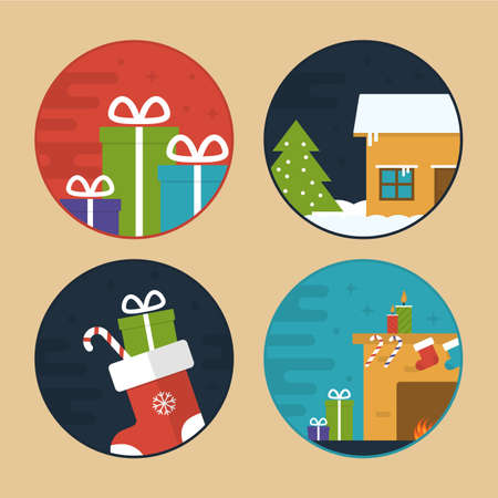 Flat Vector Illustration Set of Different Christmas Scenes. Christmas Gifts, Sock, Candy, House and Fireplace