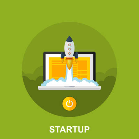 Flat Vector Design Concept of a New Business Project Start Up Development and Launch