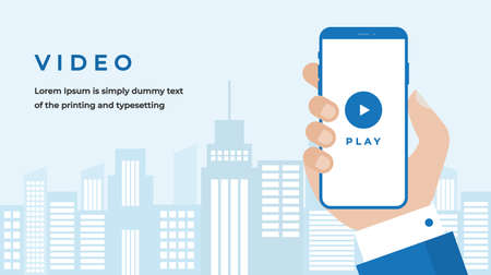 Video Design Concept with Business Woman Hand Holding a Smartphone with Play Video on Screen, Button, Headline and Text Place. Web banner, Info graphics, Hero. Flat Vector Illustration