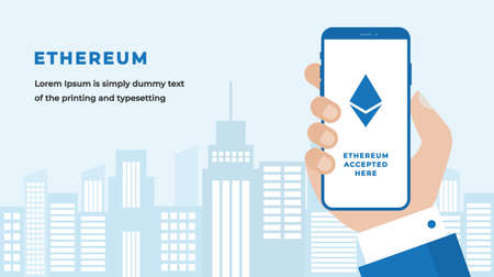 Ethereum Design Concept with Businessman Hand Holding a Smartphone with Cryptocurrency Icon on Screen, Button, Headline and Text Place. Suitable for Web banner, Hero images. Flat Vector illustration
