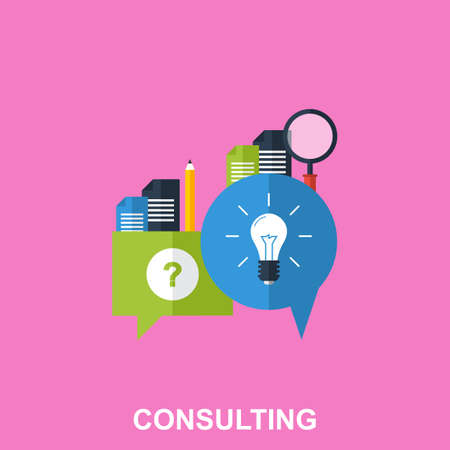 Flat Design Concept for Business Consulting with Colorful Icons