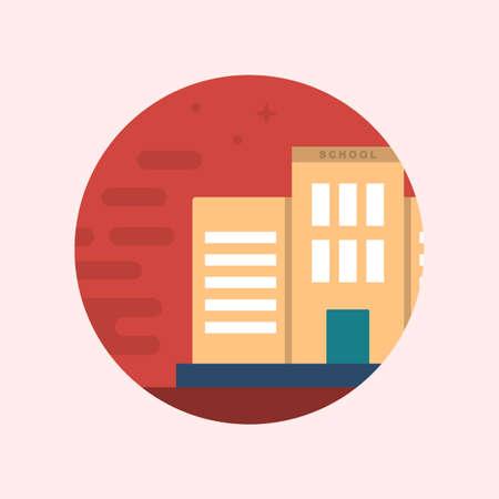 Vector Illustration Design Concept of a School Building. Flat School Icons Illustration