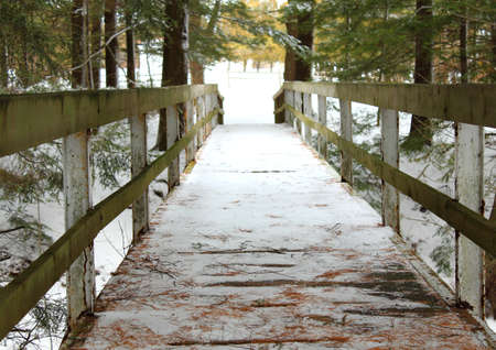Old wooden bridge crossing over a snow covered ravine  Sanilac County Park  Lexington, Michigan  photo