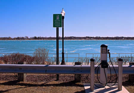technolgy: The Beauty of Being Green  Electric vehicle charging station along the gorgeous blue waters of the St  Clair River  St  Clair Riverfront Park  St  Clair, Michigan