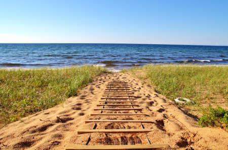 Een strand naar Call My Own Remote Lake Superior Beach Whitefish Bay ToneelByway Brimley, Michigan
