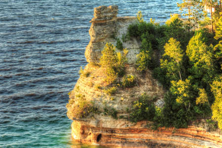 Miners Castle geological formation jutting in Lake Superior  Pictured Rocks National Lakeshore  Munsing, Michigan
