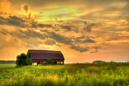 Gorgeous sunset on the backroads of America s Heartland photo