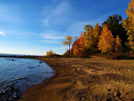 Fall color on the beach  Lexington Couny Park  Lexington, Michigan  photo