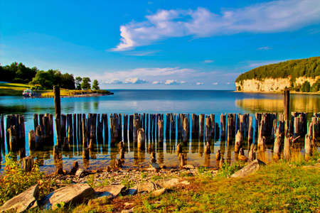 upper peninsula: Gorgeous snail shell harbor offers boaters a place of respite  Fayette State Park  Fayette, Michigan