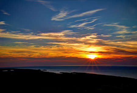 Lake Superior sunset as viewed from atop Brockway Mountain  Copper Harbor, Michigan  Banco de Imagens