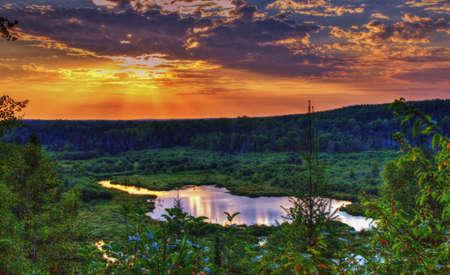 God s Country Zeer afgelegen toneel overziet in de Ottawa National Forest ligt in Michigan s Upper Peninsual