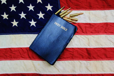 God, Guts, and Glory  King James Bible surrounded by bullets with American Flag as the background