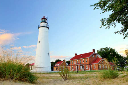 huron: Fort Gratiot Lighthouse on a sunny summer day  Lighthouse Park  Port Huron, Michigan