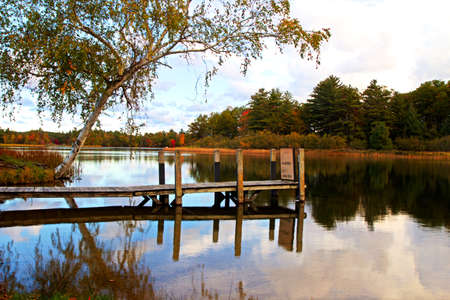 ludington: Dock reflections on a gorgeous lake with a forested shoreline in the background  Ludington State Park  Ludington, Michigan