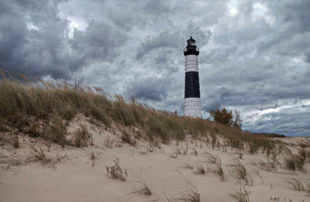 ludington: Big Sable Lighthouse stands guard on a remote windswept beach   Big Sable Lighthouse;  Ludington State Park   Ludington, Michigan  Stock Photo