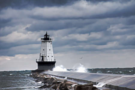 ludington: November Sky  Gale force winds send waves crashing into the Ludington lighthouse  Ludington Waterfront Municipal Park  Ludington, Michigan   Stock Photo