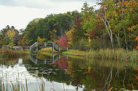 ludington: Wooden footbridge reflection in a pond, with autumn colors as a backdrop  Ludington State Park  Ludington, Michigan  Stock Photo