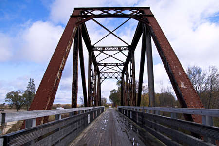 marquette: Train trestle converted to a walking path  Pere Marquette Rail Trail  Evart, Michigan  Stock Photo