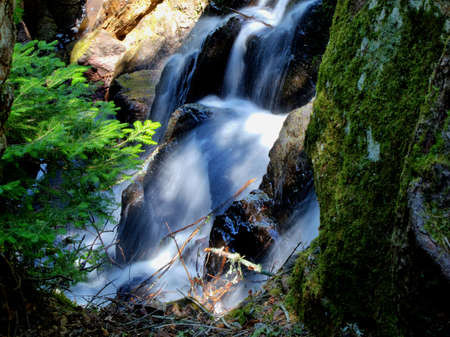 Close up a small waterfall as it splashes through the great north woods  Copper Harbor, Michigan  photo