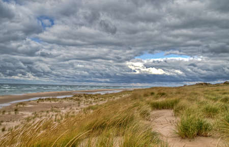 ludington: Lake Michigan horizon with dune grass in the foreground and a moody grey sky as the backdrop  Ludington State Park  Ludington, Michigan  Stock Photo