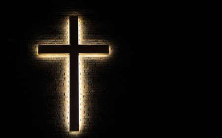 sacred trinity: Light of the World   Illuminated cross on a brick wall