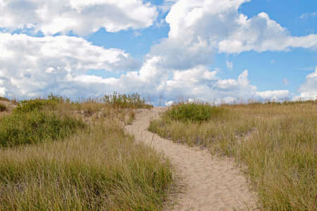 ludington: It s an uphill climb  Winding path leads to the top of a sand dune  Ludington State Park  Ludington, Michigan