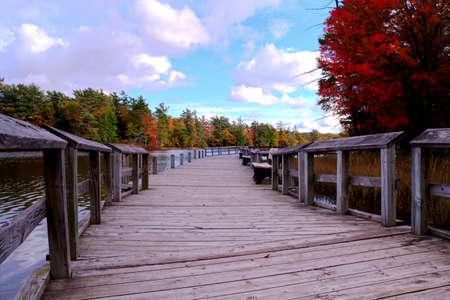 Boardwalk along the shores of Lost Lake  Ludington State Park  Ludington, Michigan   photo