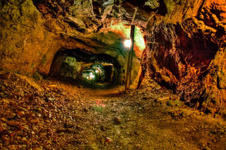 cave exploring: The Old Copper Mine  The Delaware Copper Mine, located in Copper Harbor, Michigan, is part of Keweenaw National Historical Park   Stock Photo