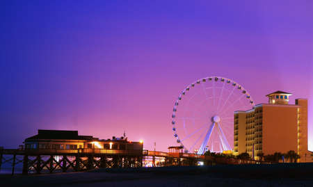 Twilight over the downtown Myrtle Beach coast  Myrtle Beach, South Carolina  photo